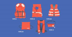 Five types of fishing PFD