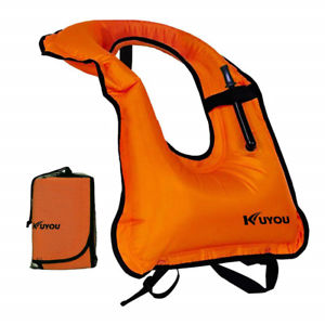 KUYOU Inflatable Snorkel Vest Adult Life Jackets - top rated inflatable life jacket for fishing